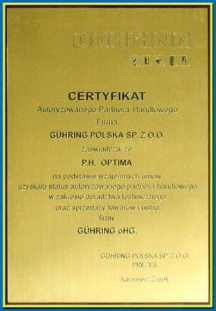 certyfikat guhring